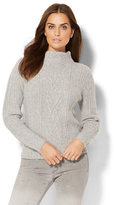 New York & Co. Cable-Knit Mock-Neck Sweater