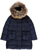 Il Gufo Bow Pocket Puffa Jacket with Fur Hood