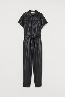 H&M Faux Leather Jumpsuit - Black