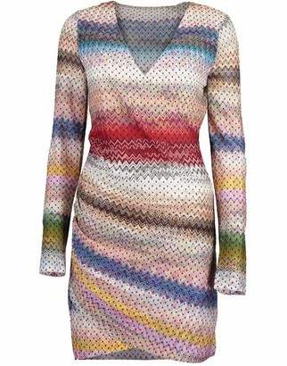 Missoni Long Sleeve V-Neck Zig Zag Dress