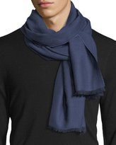 Eton Merino Wool Herringbone Scarf, Blue