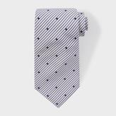Paul Smith Men's Navy Stripe And Spot Silk Tie