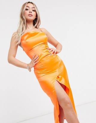 I SAW IT FIRST cowl neck satin maxi dress in orange