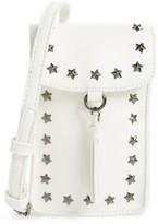 BP Studded Faux Leather Phone Crossbody Bag - White
