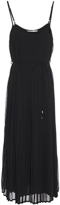 Zimmermann Belted Pleated Crepe De Chine Midi Dress