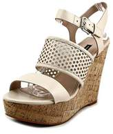 French Connection Devi Women Open Toe Leather Nude Wedge Sandal.