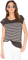 Sundry Distressed Stripe Tee in Black. - size 0 / XS (also in )
