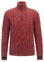Hugo Boss Zip-neck sweater in cable-knit tweed