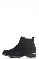 Quiz Black Diamante Embellished Ankle Boots