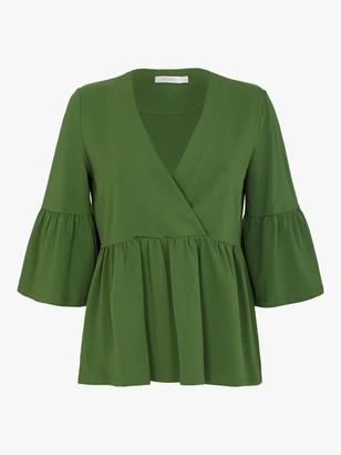 Finery Myla Jersey Wrap Top, Green