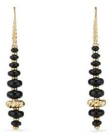 David Yurman Rio Rondelle Drop Earrings With Black Onyx In 18K Gold