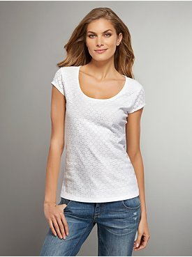 New York & Co. Scoopneck Lace-Front Tee