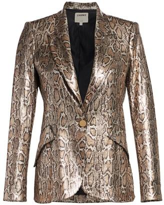 L'Agence Chamberlain Snake-Print Sequin Blazer