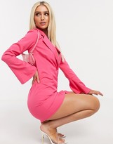 In The Style flared sleeve blazer dress in pink