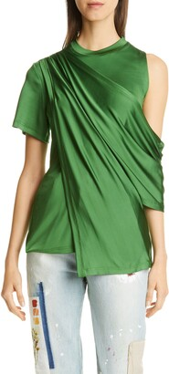 Monse Draped Cold Shoulder Jersey Top