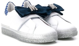 MonnaLisa Logo Bow Slip-On Sneakers