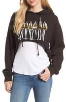 Junk Food Clothing x Donald Robertson Stripe Dresses High/Low Hoodie