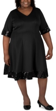 Robbie Bee Plus Size Sequin-Trim Fit & Flare Dress