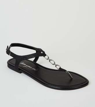 New Look Wide Fit Glitter 3 Ring Flat Sandals