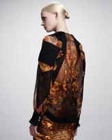 Givenchy New Flame Printed Chiffon Blouse