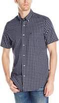 Nautica Men's Short Sleeve Poplin Large Blue Plaid Shirt