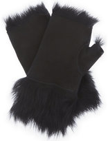 Karl Donoghue Ladies Jet Contrast Luxury Leather Fingerless Gloves