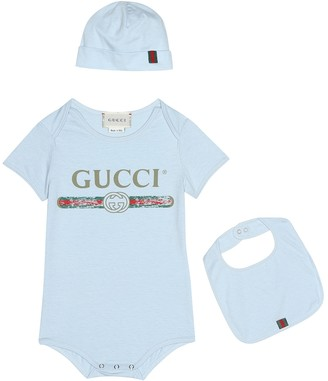 Gucci Kids Cotton bodysuit, bib and hat set