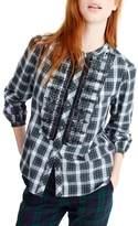 J.Crew Women's Embellished Button-Up Tartan Shirt