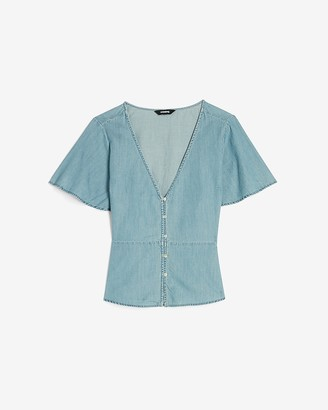 Express Denim Button Front Short Sleeve Peplum Top