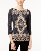 Charter Club Petite Ikat-Print Top, Only at Macy's