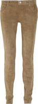 L'Agence Mid-rise skinny stretch-suede jeans