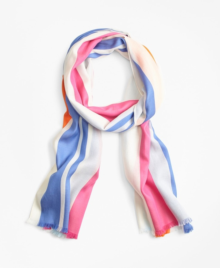 Brooks Brothers Striped Cotton Scarf