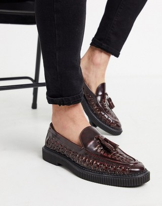 House of Hounds orion woven loafers in Burgundy leather