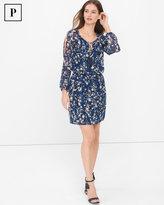 White House Black Market Petite Long Slit-Sleeve Abstract Floral Boho Dress
