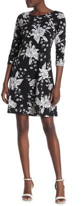 MSK Floral Printed Quarter Sleeve Dress