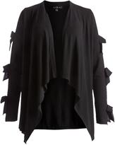 August Silk Black Bow-Sleeve Open Cardigan