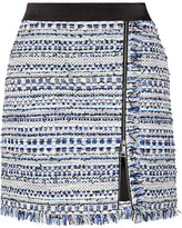 Karl Lagerfeld Satin-trimmed Fringed Metallic Tweed Mini Skirt - Blue