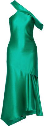 Cushnie Cold-shoulder Asymmetric Silk-satin Midi Dress