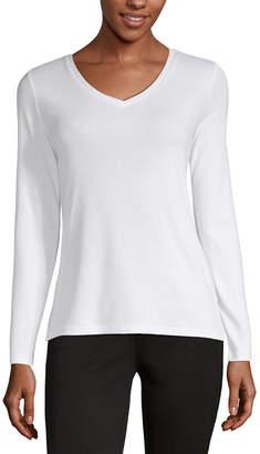 Liz Claiborne Fall 19-Womens V Neck Long Sleeve T-Shirt