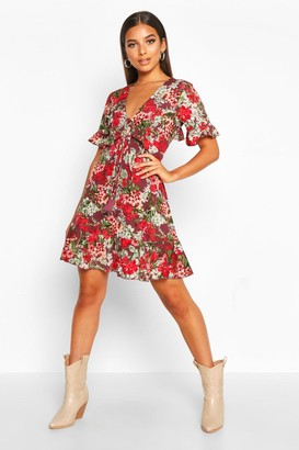 boohoo Floral Print Ruffle Front Tea Dress