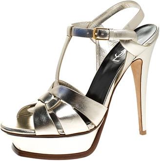 Saint Laurent Paris Metallic Pale Gold Leather Tribute Platform Strap Sandals Size 40