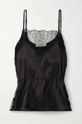 Fleur Du Mal Lace-trimmed Silk-satin Camisole - Black
