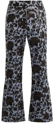 Erdem Eda Floral-jacquard Flared Trousers - Black Blue