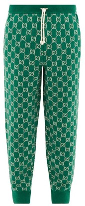 Gucci GG-jacquard Wool-blend Track Pants - Mens - Green