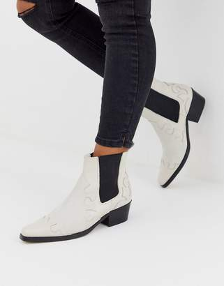 Asos Snapdragon leather western ankle boots in off white