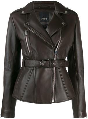 Pinko belted biker jacket