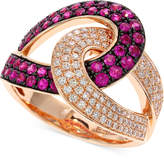 Effy Amoré by Ruby (3/4 ct. t.w.) and Diamond (1/3 ct. t.w.) Loop Ring in 14k Rose Gold