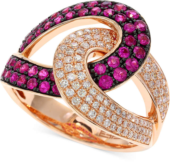 Effy Amore by Ruby (3/4 ct. t.w.) and Diamond (1/3 ct. t.w.) Loop Ring in 14k Rose Gold