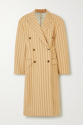 Acne Studios Oversized Pinstriped Grain De Poudre Wool Coat - Yellow