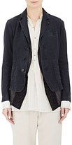 Pas De Calais Women's Herringbone Three-Button Jacket & Embroidered Vest-NAVY